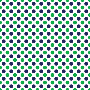 Nautical Pattern Of Blue And Green Polka Dots On A White Background