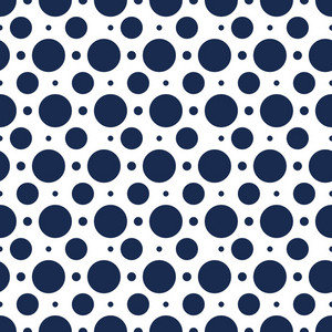 Nautical Pattern Of Blue Polka Dots On A White Background