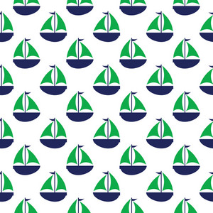 Nautical Pattern Of Green And Blue Sailboats On A White Background