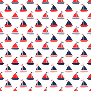 Nautical Pattern Of Red And Blue Sailboats On A White Background