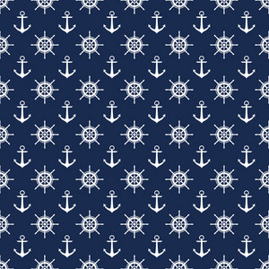 Nautical Pattern Of White Anchors And Steering Wheels On A Blue Background