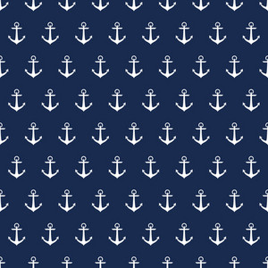 Nautical Pattern Of White Anchors On A Blue Background