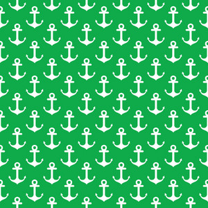 Nautical Pattern Of White Anchors On A Green Background