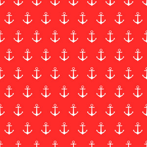 Nautical Pattern Of White Anchors On A Red Background