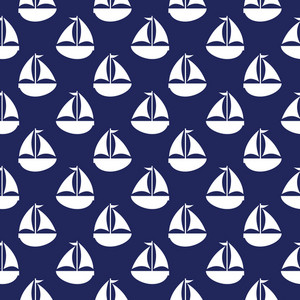Nautical Pattern Of White Sailboats On A Blue Background