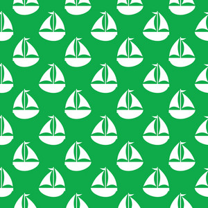Nautical Pattern Of White Sailboats On A Green Background