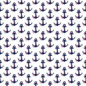 Nautical Red And Blue Anchor Pattern On A White Background