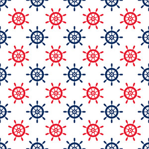 Nautical Red And Blue Steering Wheel Pattern On A White Background