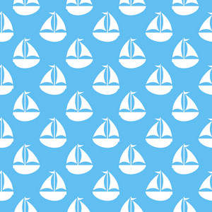Nautical White Sailboat Pattern On A Blue Background