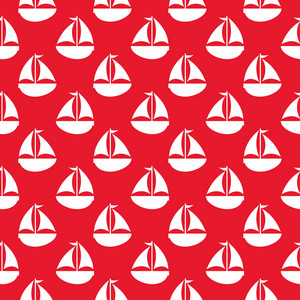 Nautical White Sailboat Pattern On A Red Background