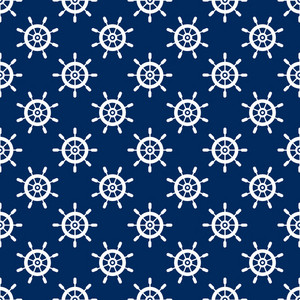 Nautical White Steering Wheel Pattern On A Blue Background