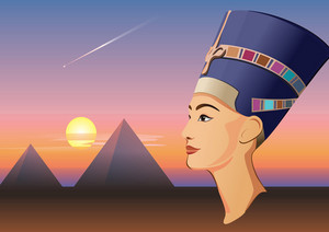 Nefertiti And Giza Vector