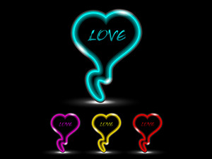 Neon Effect Love Icons Set With Four Colors. Vector.