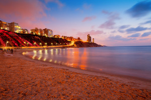 Netanya city at sunset, sea cost, Israel