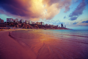 Netanya city at sunset