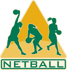 Netball Player Catching Jumping Passing Ball