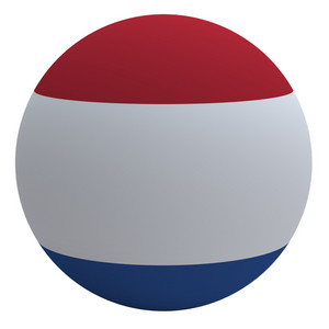 Netherlands Flag On The Ball Isolated On White.