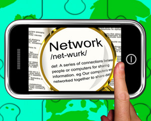 Network Definition On Smartphone Showing Networking