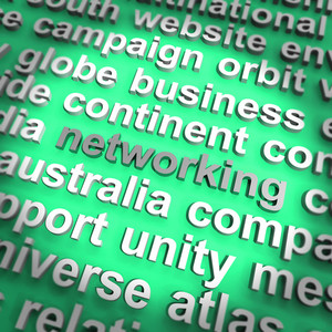 Networking Word Showing Relationships And Computer Communication