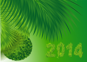 New 2014 Green Natural Year. Vector.