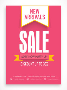 New Arrivals Sale poster banner or flyer design with discount offer.
