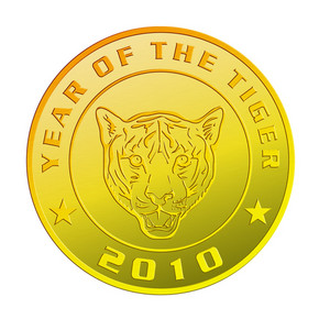 New Year 2010 Year Of The Tiger Gold Coin