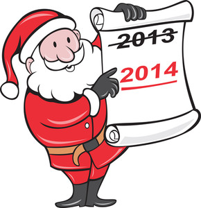 New Year 2014 Santa Claus Scroll Sign