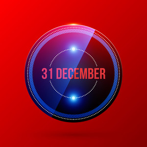 New Year And Christmas Label On Bright Red Background