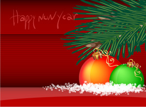 New Year Template Pine Branch And Balloons. Vector Background.