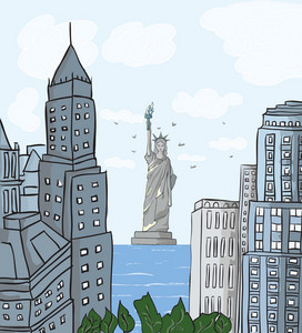 New York Cartoon Background Vector Illustration