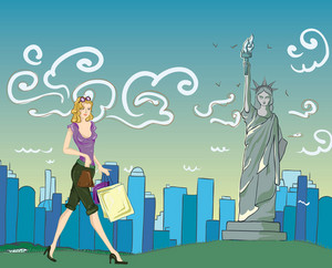 New York Doodles With Lady Vector Illustration