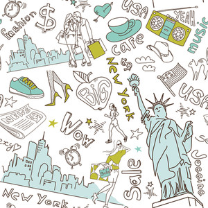 New York Seamless Doodles Pattern