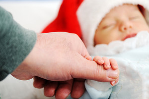 Newborn santa sleeping