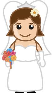 Newly Married Female Cartoon Vector