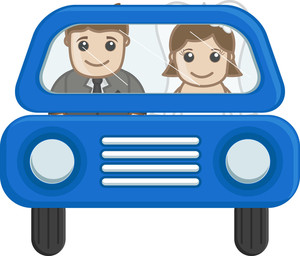 Newly Weds Couple Going In Car - Cartoon Vector