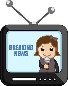 News Reporter Over Tv - Business Cartoons Vectors