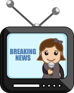 News Reporter Over Tv - Business Cartoons Vectors