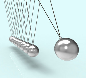 Newton Cradle Showing Energy And Gravity