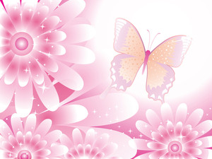 Nice Vector With Flowers And Butterfly