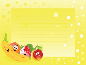 Nice Yellow Banner With Fresh Fruits