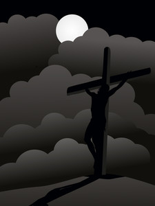 Night Background With Crucifixion Of Jesus Christ