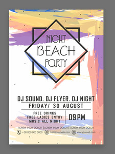 Night Beach Party celebration stylish flyer banner or template with colorful splash.