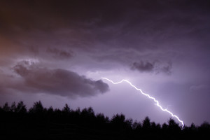 Night sky with lightning. Thunderstorm at night