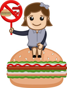 No Junk Food Allowed - Cartoon Business Vector Character
