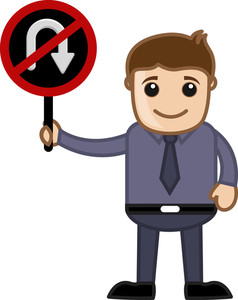 No U Turn Allowed - Cartoon Vector