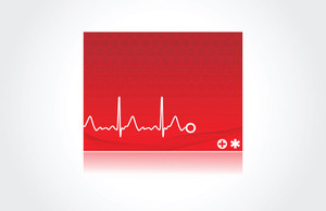 Normal Electronic Cardiogram On Red Background