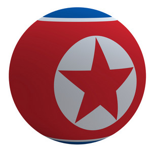 North Korea Flag On The Ball Isolated On White.