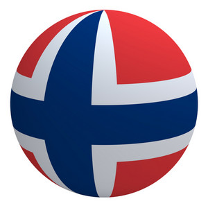 Norway Flag On The Ball Isolated On White.