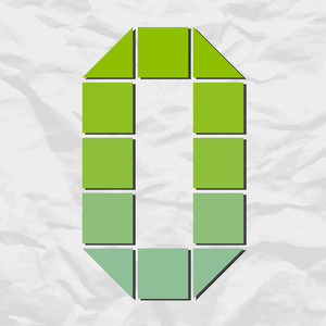 Number 0 From Squares And Triangles On A Paper-background. Vector Illustration