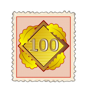 Number 100 Diamond Stamp